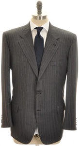 Brioni Suit 'Palatino' 3B Wool 180's 46 56 Gray Stripe
