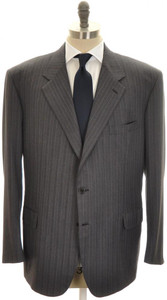 Brioni Suit 'Palatino' 3B Wool 150's 52 62 Gray Blue Stripe