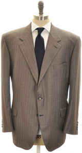 Brioni Suit 'Palatino' Wool 150's 52 62 Brown Stripe