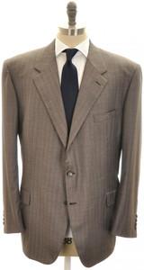 Brioni Suit 'Palatino' Wool 150's 52 62 Brown Stripe 03SU0219