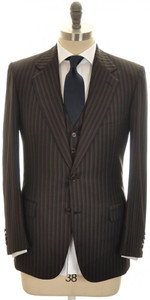 Brioni 3-Piece Suit 'Palatino' Wool 38 48 Brown Blue Stripe