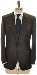 Brioni 3-Piece Suit 'Palatino' Wool 38 48 Brown Blue Stripe 03SU0216
