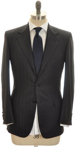 Brioni Suit 'Palatino' Wool 150's 36 46 Gray Blue Stripe