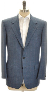 Brioni Sport Coat Jacket 'Palatino' Wool 46 56 Blue Brown