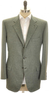 Brioni Sport Coat Jacket 'Pincio' Cashmere 43 53 Green Tweed