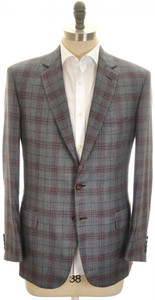 Brioni Sport Coat Jacket 'Colosseo' Cashmere 42 52 Gray Red Plaid