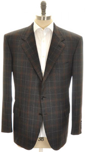 Brioni Sport Coat Jacket 'Palatino' Wool 48 58 Gray Brown