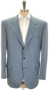 Brioni Sport Coat Jacket 'Palatino' Wool 46 56 Blue Green