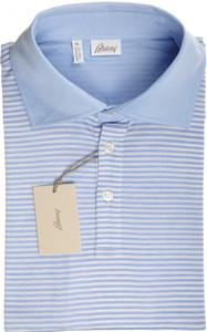 Brioni Polo Shirt Fine Knit Cotton XXLarge Blue White