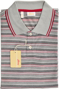 Brioni Polo Shirt Fine Knit Cotton Large Red Gray 03PL0146