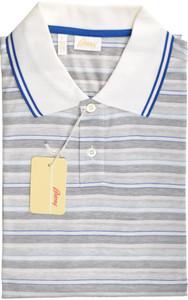 Brioni Polo Shirt Fine Knit Cotton XLarge Blue Gray 03PL0145