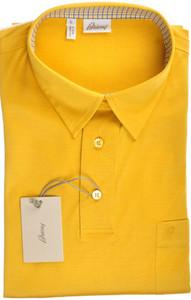 Brioni Polo Shirt Fine Knit Cotton Large Yellow 03PL0140