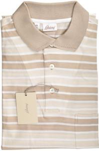Brioni Polo Shirt Fine Knit Cotton XLarge Brown White 03PL0135