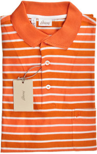 Brioni Polo Shirt Fine Knit Cotton Large Orange White 03PL0133