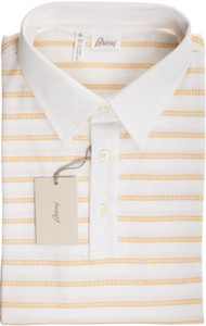 Brioni Polo Shirt Fine Cotton Stretch XLarge White Yellow 03PL0174