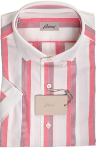 Brioni Shirt Polo Collar Fine Cotton Large IV Red Blue 03PL0173