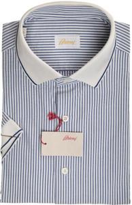 Brioni Shirt Polo Collar Fine Seersucker Cotton Large IV Blue 03PL0172