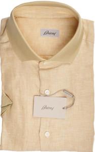 Brioni Shirt Polo Collar Fine Linen XLarge V Brown 03PL0171