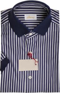 Brioni Shirt Polo Collar Fine Cotton Small II Blue White 03PL0170