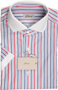 Brioni Shirt Polo Collar Fine Cotton Small II Blue Red 03PL0169