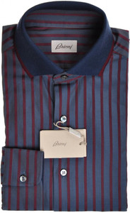 Brioni Shirt Polo Collar Fine Cotton Medium III Blue Burgundy 03PL0167