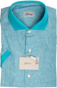 Brioni Shirt Polo Collar Fine Linen II Small Green 03PL0165