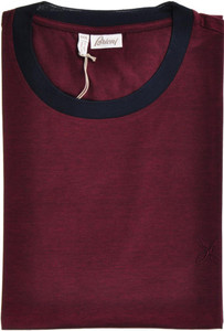 Brioni T-Shirt Extra Fine Cotton B logo 3XLarge Burgundy Blue 03TS0116