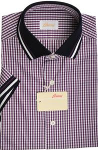 Brioni Shirt Polo Collar Fine Cotton Small II Purple White 03PL0197