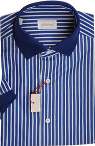 Brioni Shirt Polo Collar Fine Cotton Small II Blue White 03PL0196