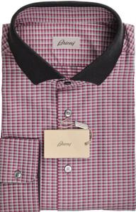 Brioni Shirt Long Sleeve Polo Collar Fine Cotton 3XLarge Purple 03PL0195