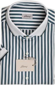 Brioni Shirt Polo Collar Fine Cotton XXLarge VI Green White 03PL0194