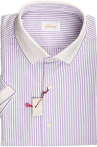 Brioni Shirt Polo Collar Fine Cotton Large IV Purple White 03PL0193