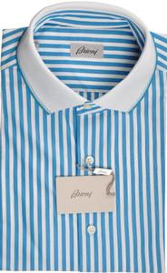 Brioni Shirt Polo Collar Fine Cotton Large IV Blue White 03PL0192