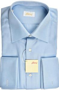 Brioni Dress Shirt French Cuff Cotton 16 41 Blue
