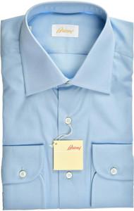Brioni Dress Shirt Superfine Cotton 15 3/4 40 Blue
