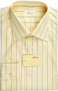 Brioni Dress Shirt Superfine Cotton 15 1/2 39 Yellow Black