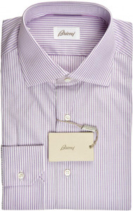 Brioni Dress Shirt Superfine Cotton 15 1/2 39 Purple White