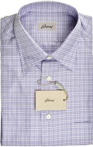 Brioni Dress Shirt Short Sleeve Cotton Medium III Purple White