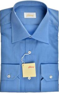 Brioni Dress Shirt Superfine Cotton 15 1/2 39 Blue