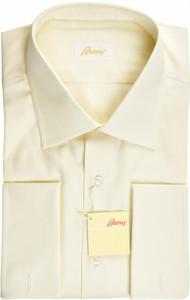 Brioni Dress Shirt French Cuff Superfine Cotton 17 1/2 44 Yellow