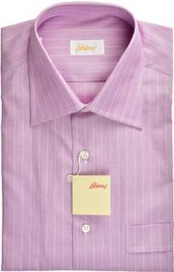 Brioni Dress Shirt Short Sleeve Superfine Cotton 15 1/2 39 Purple