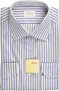 Brioni Dress Shirt Superfine Cotton 16 41 Purple White