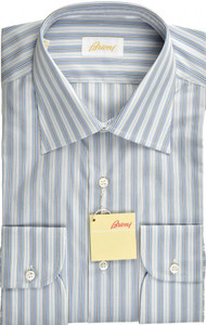 Brioni Dress Shirt Superfine Cotton 15 3/4 40 Blue Gray