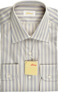 Brioni Dress Shirt Superfine Cotton 15 1/2 39 Brown Blue