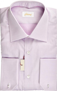 Brioni Dress Shirt French Cuff Superfine Cotton 16 41 Purple