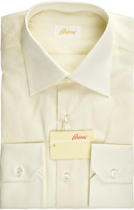 Brioni Dress Shirt Superfine Cotton 15 1/2 39 Yellow
