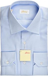 Brioni Dress Shirt Superfine Cotton 15 3/4 40 Blue