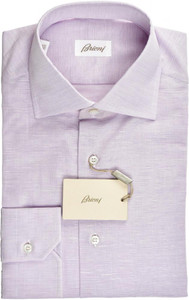 Brioni Dress Shirt Superfine Cotton Linen 15 1/2 39 Purple