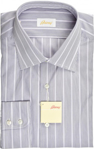 Brioni Dress Shirt Superfine Cotton 17 43 Purple