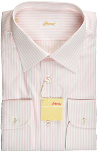 Brioni Dress Shirt Superfine Cotton 17 1/2 44 Pink White